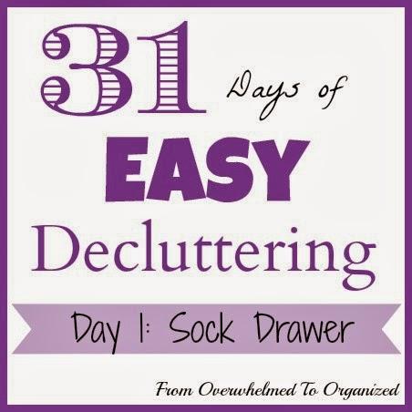 Day 1: Sock Drawer {31 Days of Easy Decluttering} | fromoverwhelmedtoorganized.blogspot.com