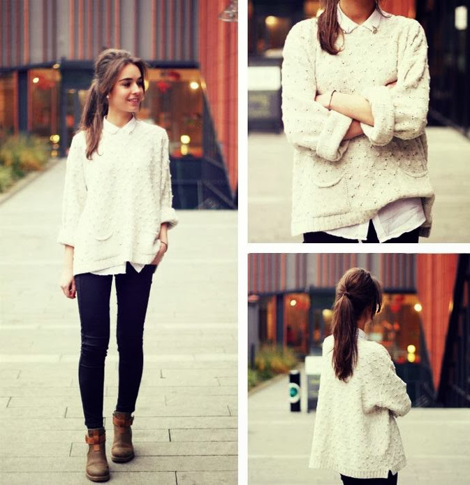 see more Sweet Over Sized White Sweater