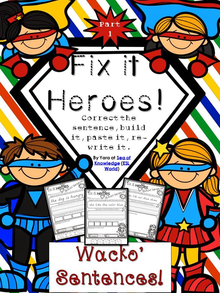 http://www.teacherspayteachers.com/Product/Fix-it-Heroes-Sentence-Conventions-Fry-1-20-Sight-Words-K-G1-1266338
