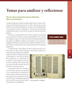 Temas para analizar y reflexionar. El uso de la imprenta para la difusión del conocimiento - Historia 6to Bloque 5 2014-2015