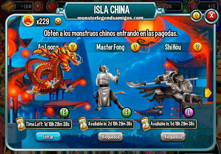 imagen de la isla china de monster legends