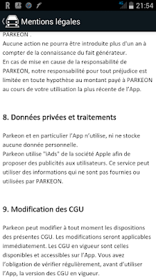 CGU de l'application mobile Path to Park