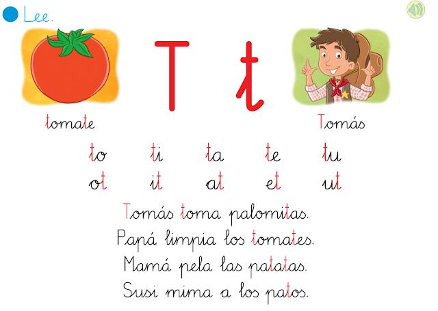 APRENDER ES DIVERTIDO 1º Y 2º: Lectura interactiva de las letras t