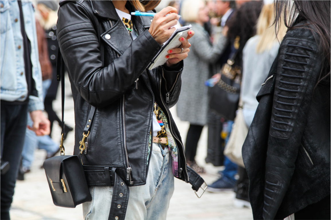 London Fashion Week street style leather jacket and boyfriend jeans