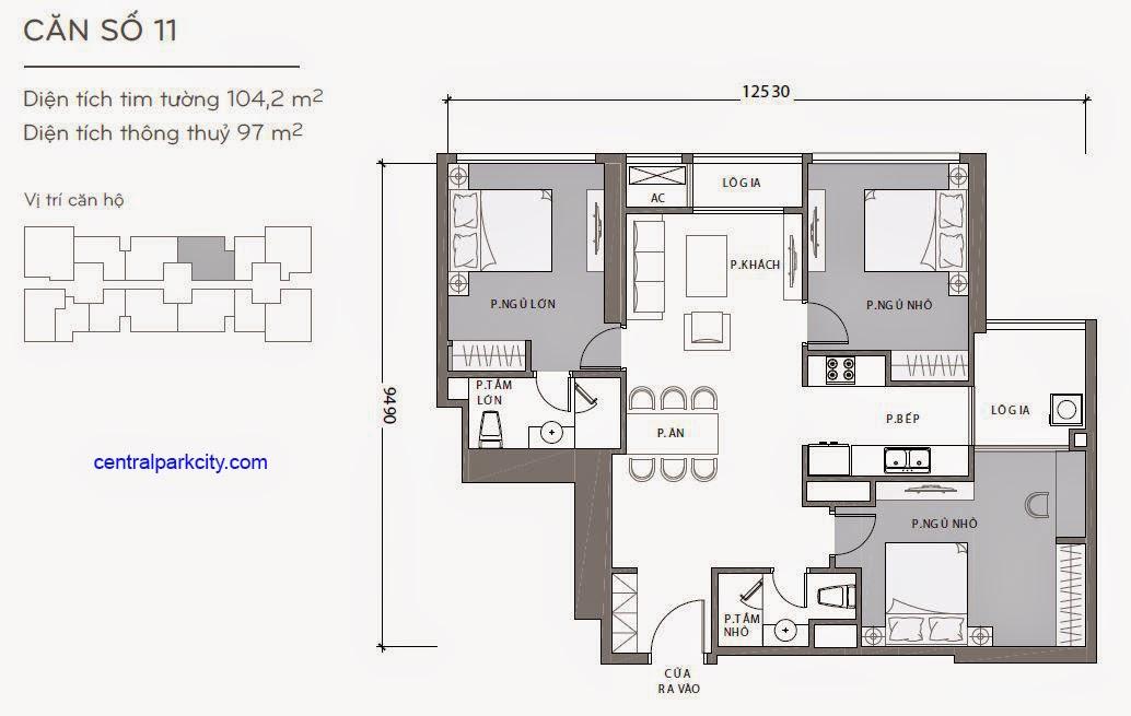 Căn hộ Landmark 2 & 3 - kiểu nhà số 11 - 104.2m2 - 3PN