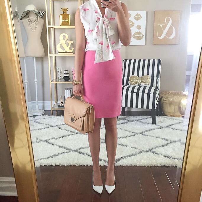 Flamingo Print Sleeveless Chiffon Pussybow Blouse, Loeffler Randall rider bag, Manolo Blahnik white BB pumps, pink pencil skirt, summer work outfit ideas