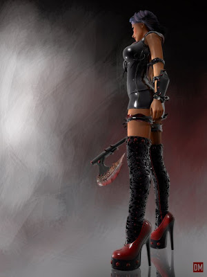 dominatrix warrior woman bloody axe
