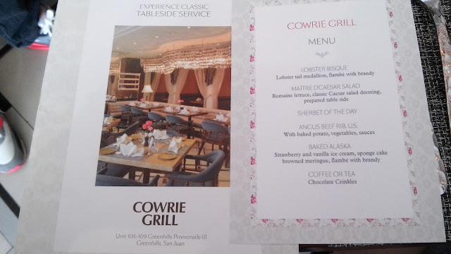 cowrie gril menu