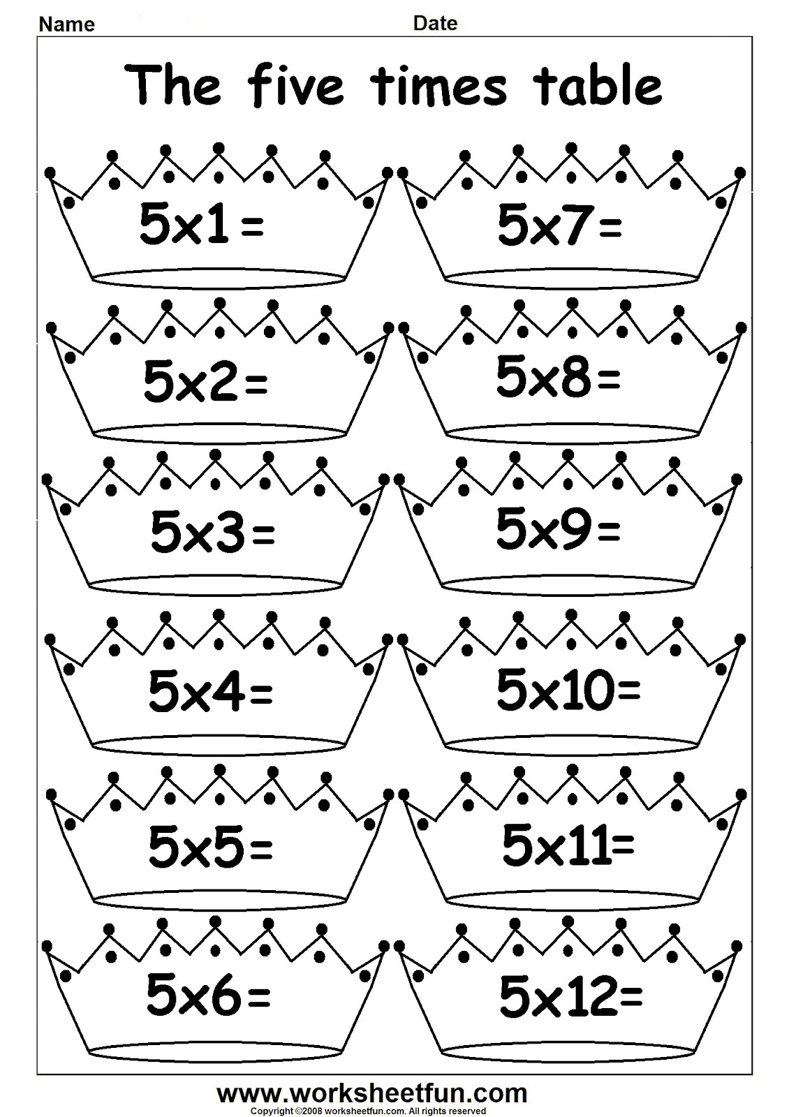 math worksheet : times tables worksheets for 2nd grade  grade worksheets : Multiplication By 5 Worksheet
