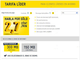 Tarifa Lider Internet movil y llamadas baratas
