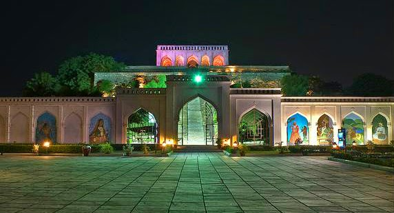 A eye catching view of the Taramati Baradari at night