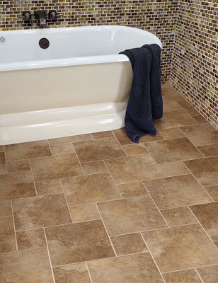 Mix and match bathroom tile styles on wall and floor