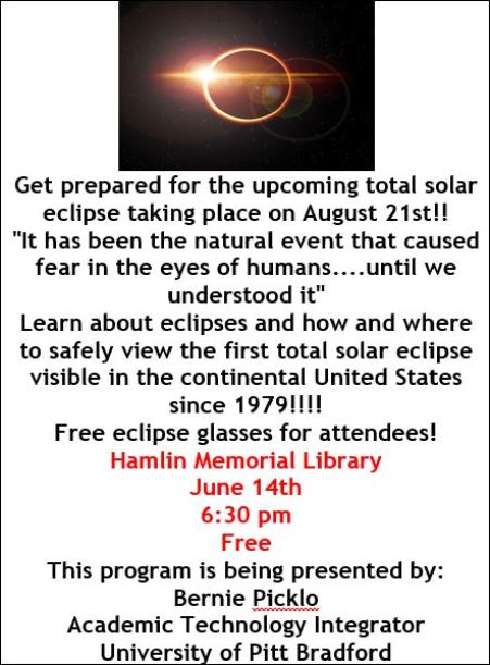 6-14 Hamlin Memorial Library Solar Eclipse