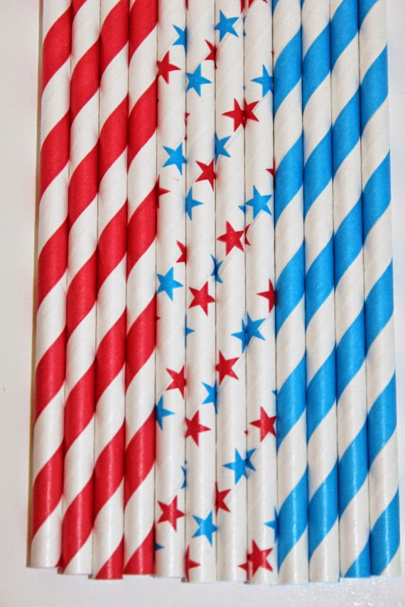 straws red aqua stars striped paper straws birthday party event cake pop sticks Bonus diy straws flags
