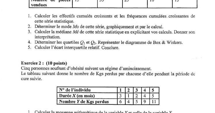 Examen corrigé - Statistique Descriptive 2014/2015 - EkoGest | économie & Gestion