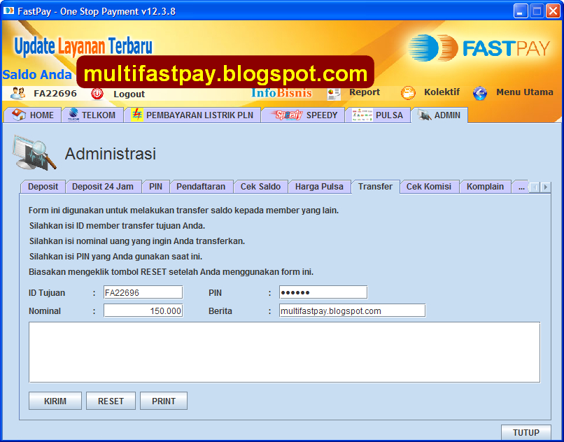 transfer saldo dari aplikasi FastPay
