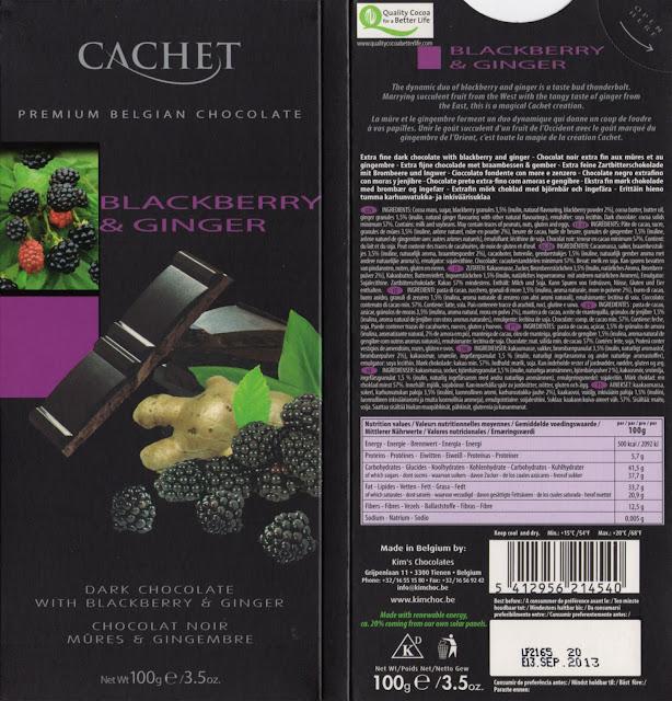 tablette de chocolat noir gourmand cachet noir mûres & gingembre