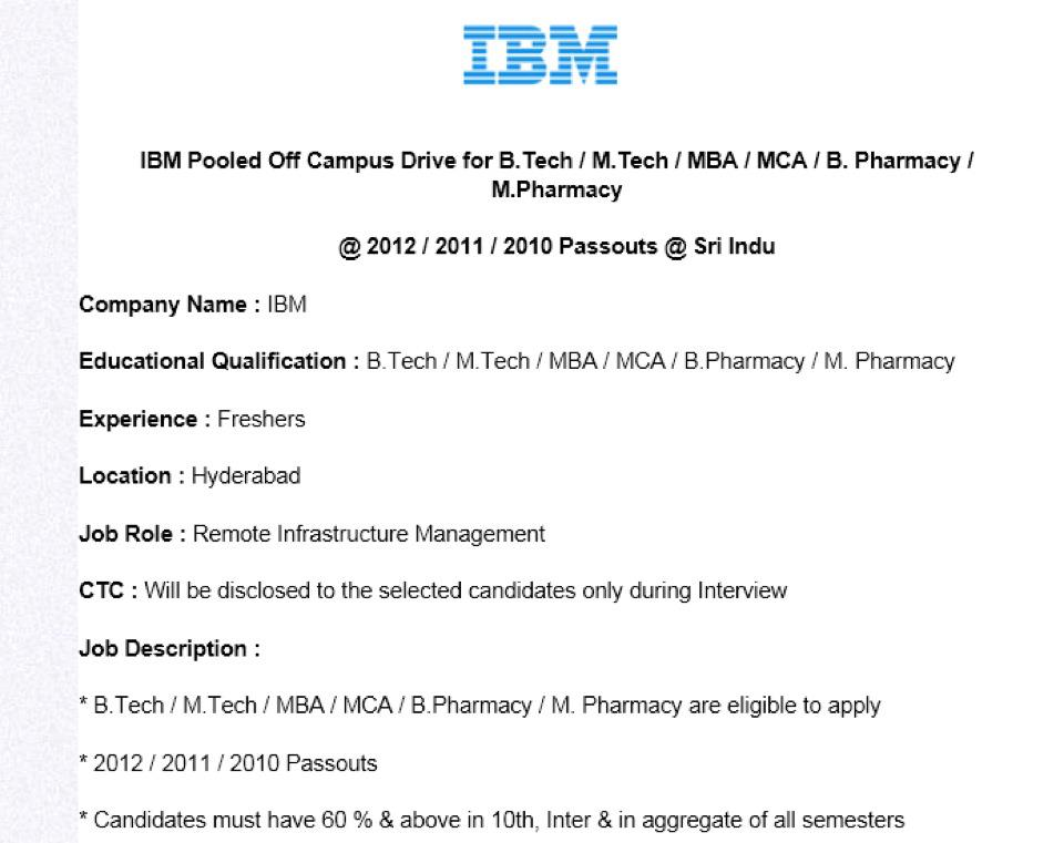 Job Vacancies IBM Recruitment Drive Freshers From 2010