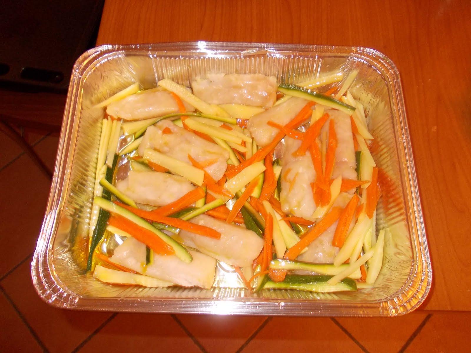 La cucina di mrg filetti di merluzzo al forno con for Verdure alla julienne