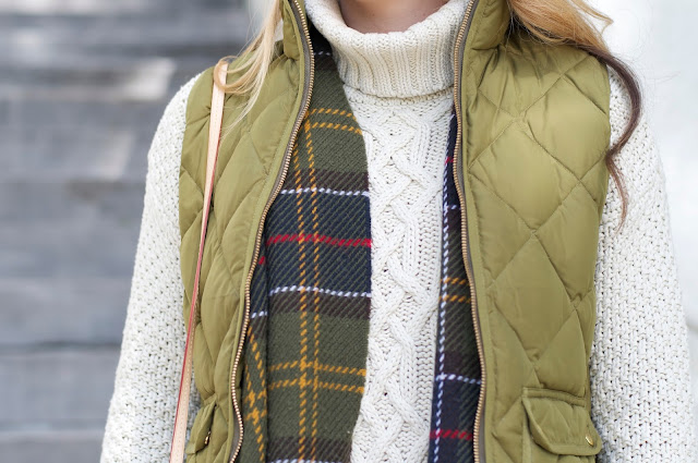 barbour scarf and j.crew excursion vest