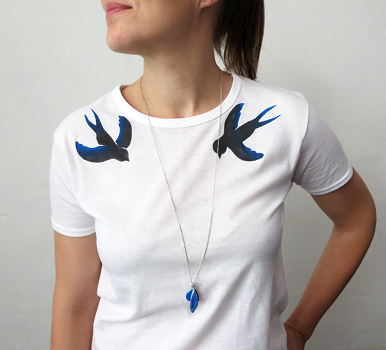 Stenciled swallow t-shirt