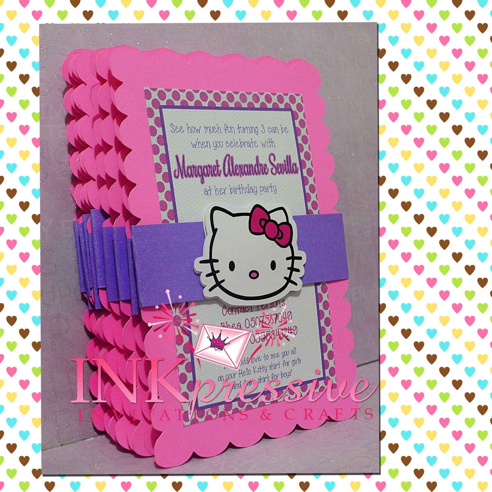 pink purple hello kitty invitation inkpressive invitations pink purple hello kitty invitation