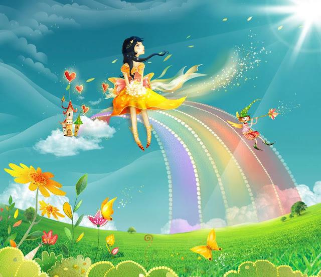 Девочка на радуге, картинка