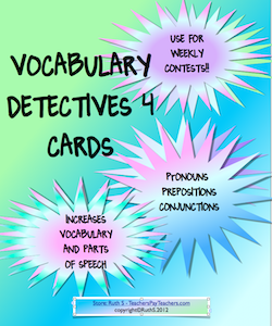 photo of Vocabulary Detective Task Cards 4 Teacher Park grades 3 - 6