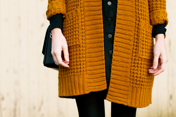 Vancouver Fashion and Style Blogger, Alison Hutchinson, is wearing an oversized simons cardigan with an all-black look.