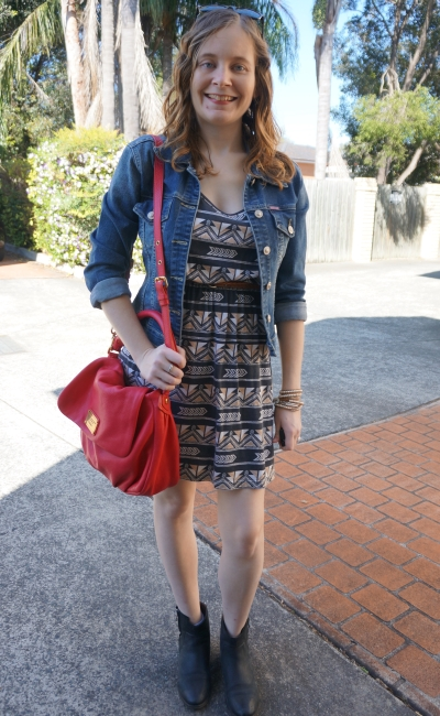 Away from Blue | Spring Outfit Aztec print dress denim jacket black ankle boots red bag
