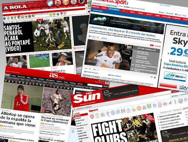 Jornais do mundo inteiro falando sobre a conquista do Santos e destacando Neymar