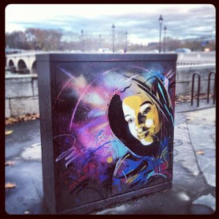 C215, street art, mural, large, stencil, girl, colors