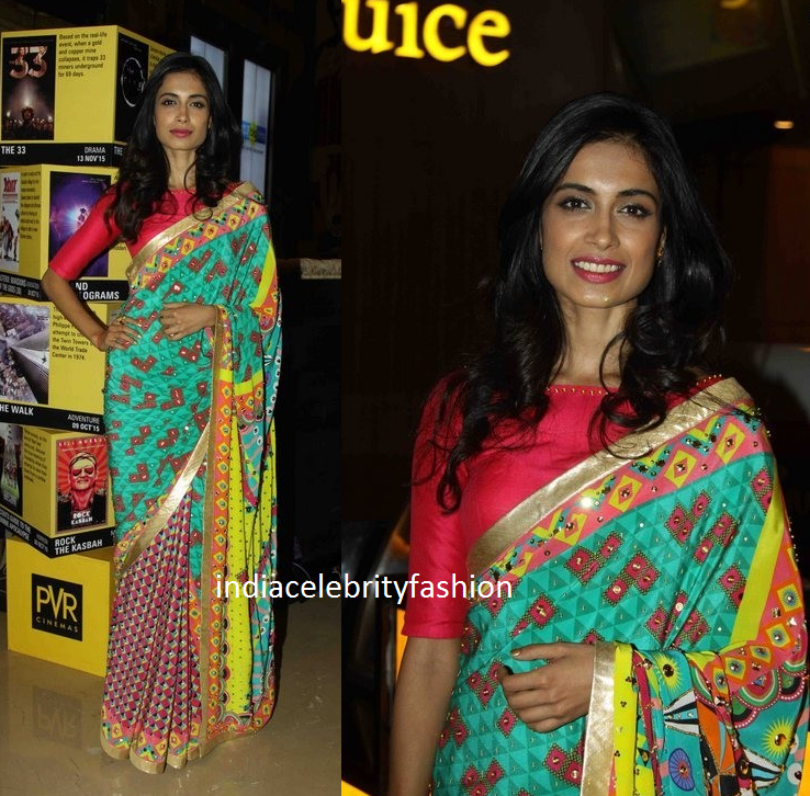 Sarah Jane Dias in Half and half saree