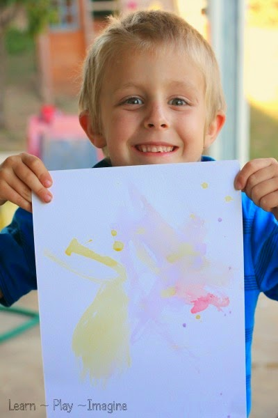 Artwork using homemade scented watercolor paint.