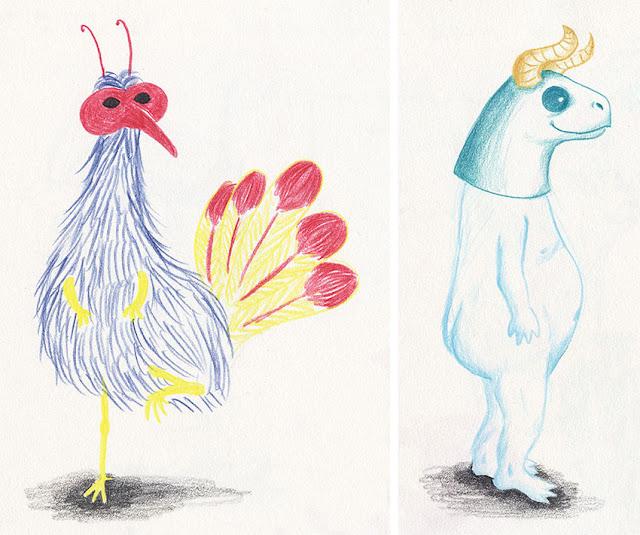 Mar Villar - Dibujos a tres colores, pájaro enmascarado, máscara con cuernos