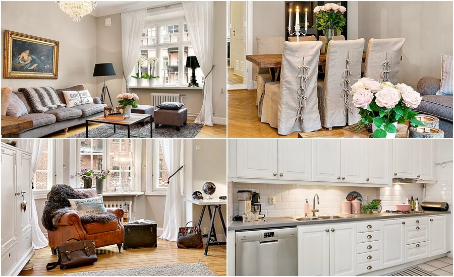 styl klasyczny, lampa, kanapa, szarość, fotel, jadalnia, stół, krzesła, kuchnia, biała kuchnia