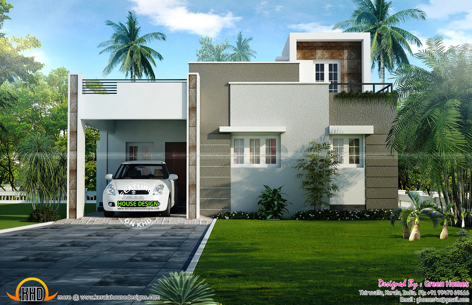 1200 sq ft house plan kerala home design and floor plans for Kerala home design flat roof elevation