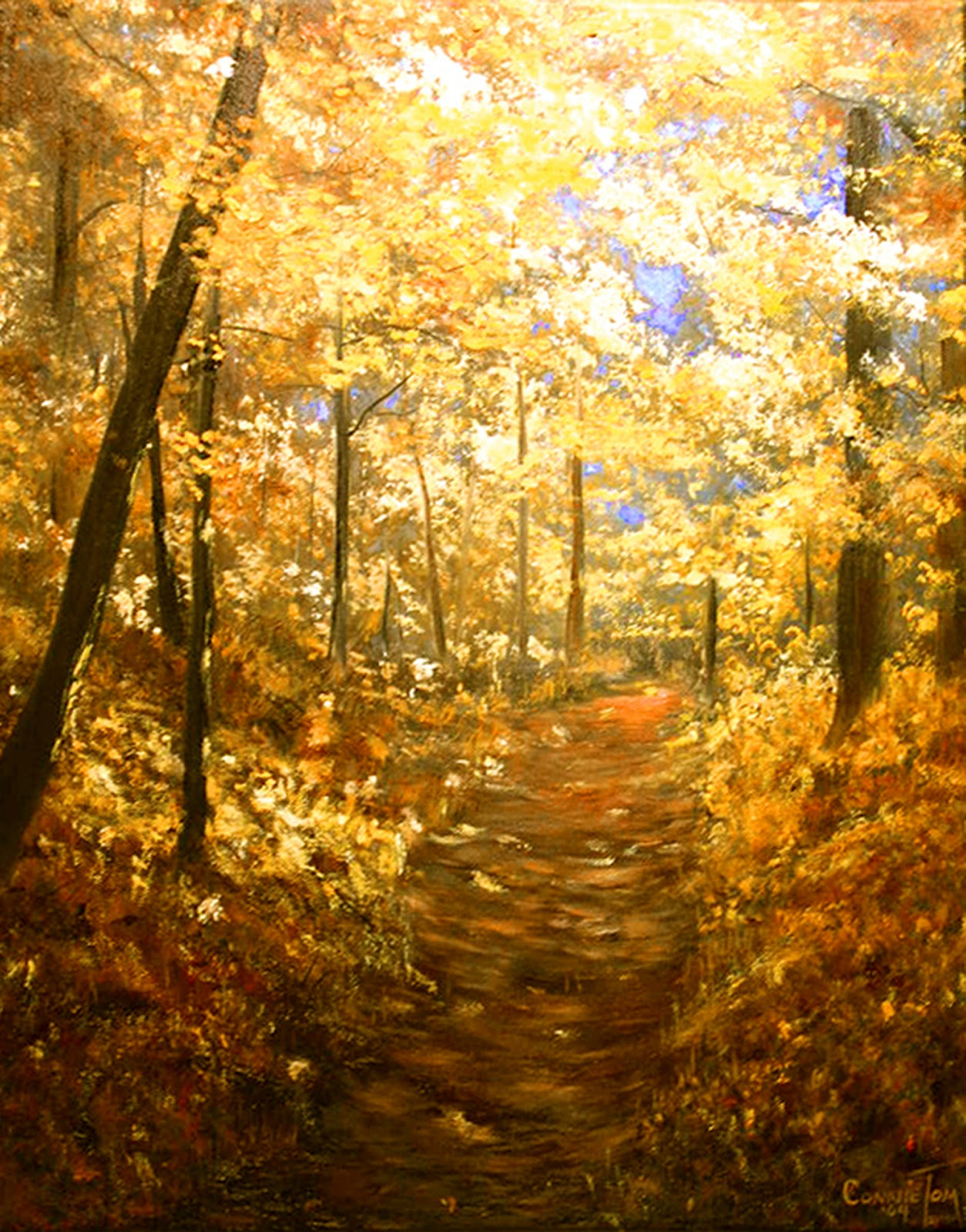 A painting for you lanterns of gold 20 x 16 a for Autumn tree painting