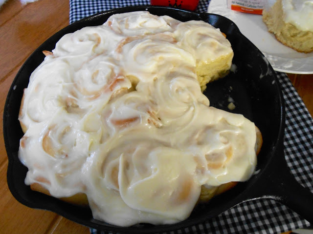 Orange Rolls In A Cast Iron Skillet