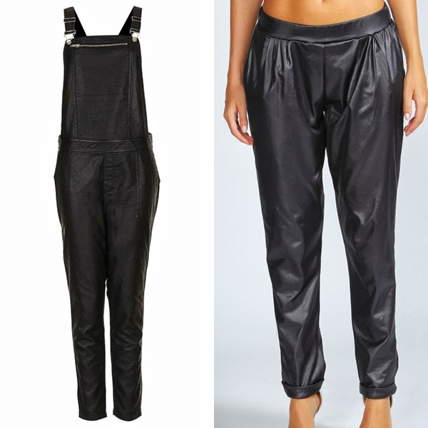 leather dungaree, leather harem trousers, leather bottoms trend