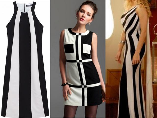 """""""vestido-preto-e-branco-com-listras"""" www.alinhavosdemoda.com.br"""