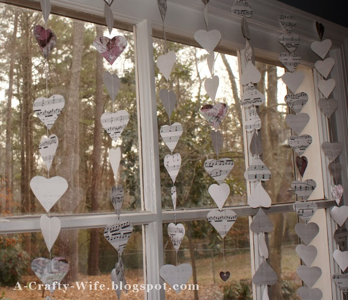 Valentine's Day heart garland made from sheet music and scrapbook paper | A Crafty Wife