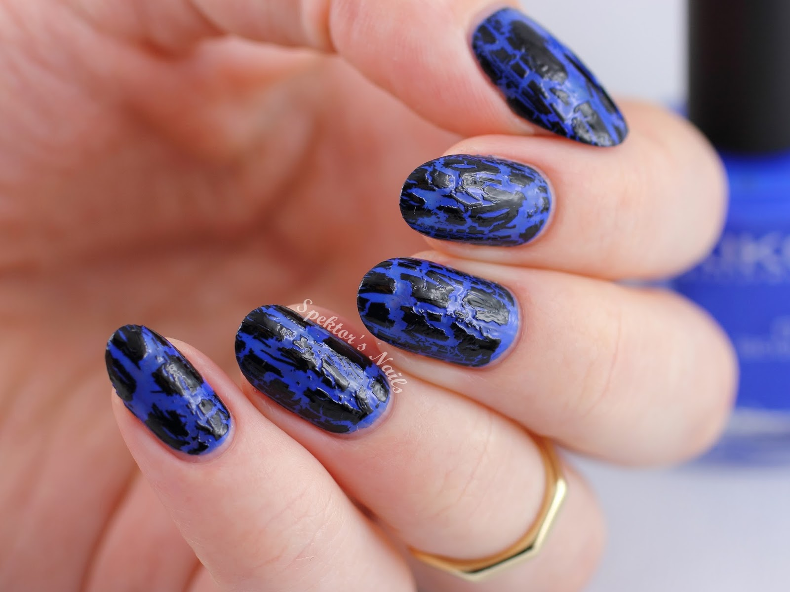 OPI - Black Shatter over KIKO - Electric Blue