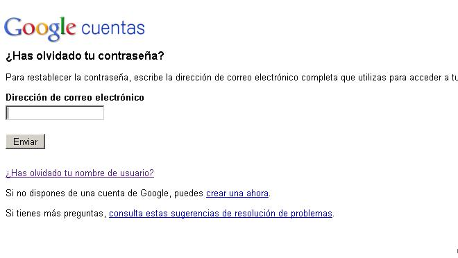Recuperar contrasea en gmail