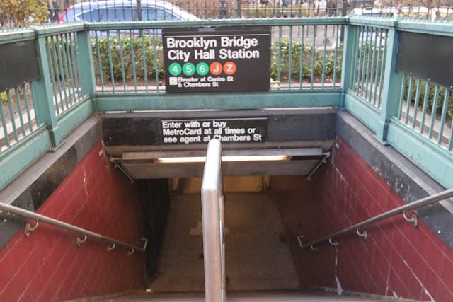 The subway train station of Brooklyn Bridge in New York, USA