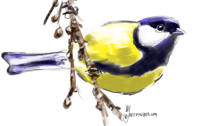 Great tit bird painting by Artmagenta