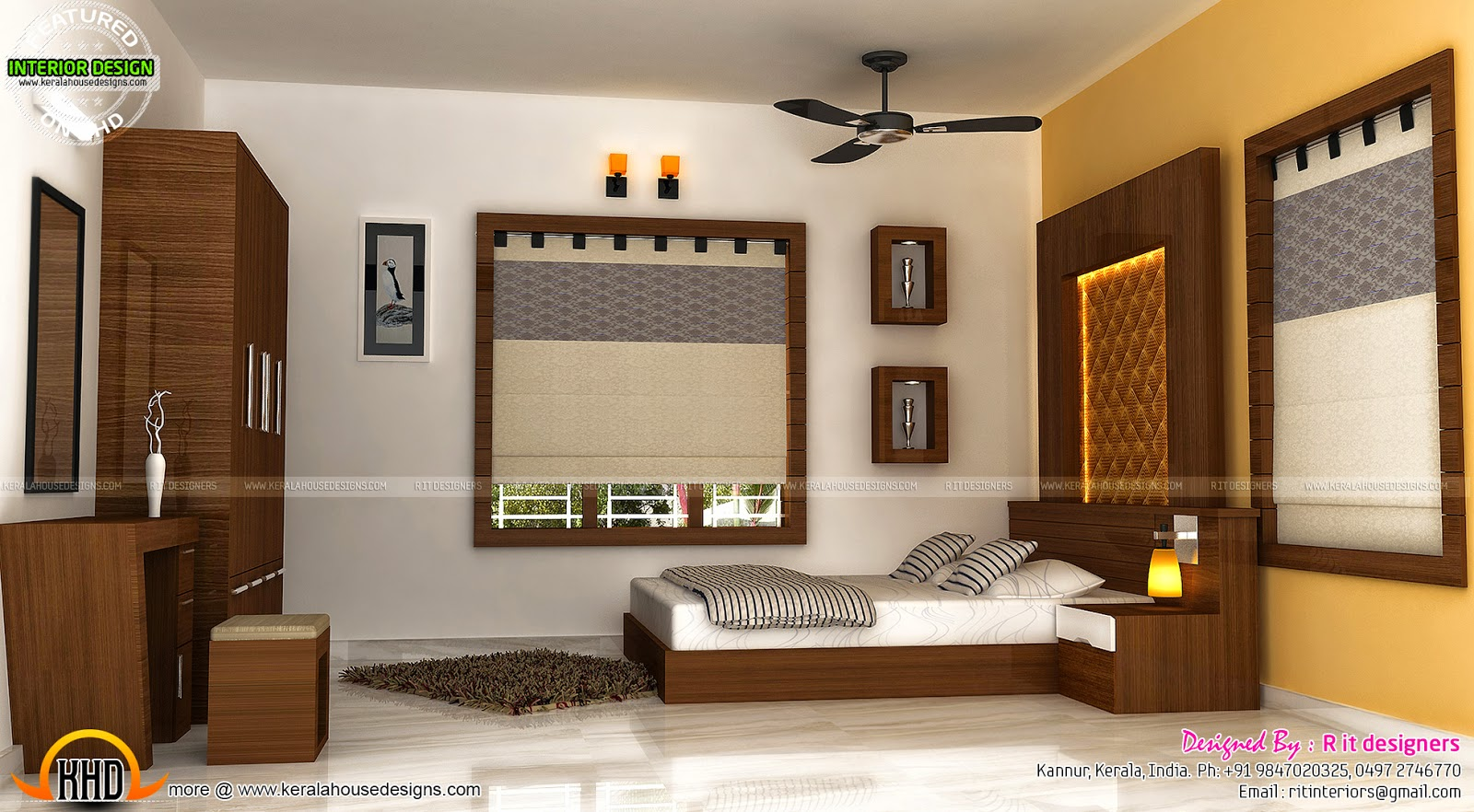 Staircase bedroom dining interiors kerala home design for Kerala house living room interior design
