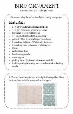 passarinho de tecido com molde e PAP (DIY) - Patchwork Pottery