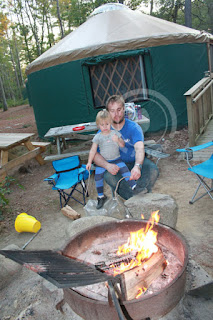 Out side of yurt with fire pit - Shawme-Crowell State Forest