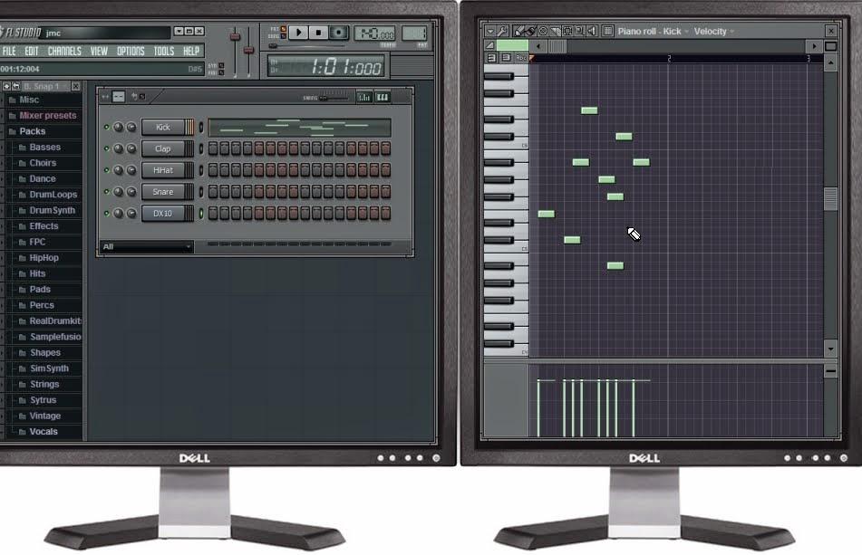 Tampilan Fl studio 2 monitor